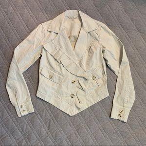 🆕🦋 CAbi Waxed Linen Asymmetrical Ruffled Jacket